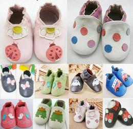 Wholesale Baby Boys First Walking Shoes - Promotion 100% Cowhide Baby Soft Sole Walking Shoes Genuine Leather baby first walker Shoes 1pair