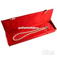 personalisierte schmuckkoffer großhandel-Personalisierte Halskette Geschenk Box Silk Stoff Schmuck Fällen Größe 9.1 * 1.8 * 1.5 Zoll 1pcs frei