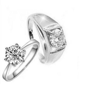 Rhodium Plated Male And Female Ring Wedding Ring Couple Ring