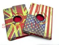 Wholesale Ipad Uk Flag - Magnetic Retro UK US Flag Map Leather Case 360 Rotating Case Cover for ipad mini Stand