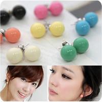 boucles d'oreilles boule de bonbons achat en gros de-P253 vente chaude femmes mode beaux bijoux pas cher bonbons couleur balle boucles d'oreilles oreille en plastique livraison gratuite