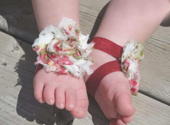 20 шт/10 пар ребенок тапочки сандалии босиком обувь Foot цветов галстуки малышей чистка младенческой крючком
