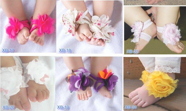 /  bebê sandálias chinelo com os pés descalços sapatos de flor do laço laços criança sapato crochê infantil