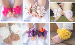 Wholesale Top Baby Flower Sandals Shoes - TOP BABY Sandals baby Barefoot Sandals Foot Flower Foot Ties girls Toddler Shoes 20pairs=40pcs