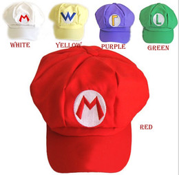 Wholesale Wholesale Red Mario Hats - 5 colors Luigi Super Mario Bros Anime Cosplay Adult Hat elastic at the back cap free shipping