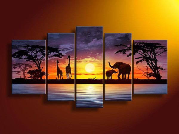 Abstract Animal Oil Painting Giraffes Elephants In Sunset By The ...