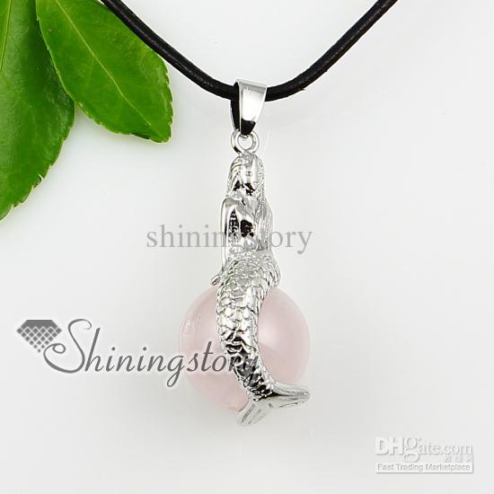 Favorite Wholesale Mermaid Ball Precious Stone Jewellery Big Stone Necklace  XT03