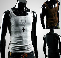 T-shirt Sans Manches Gris Pas Cher-Hot Men's Vest Shirt Hommes MODEL Slim Straitjacket Corsetry sans manches Vêtements gris 2158-2