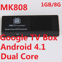 mini-tv-box dongle großhandel-MK808 Google Android 4.1.1 Jelly Bean Mini-PC Dual Core RK3066 Cortex-A9-Stick TV-Box Dongle 1 GB / 8 GB