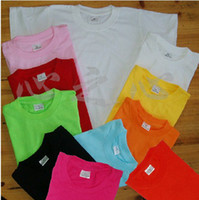 Wholesale Wholesale Plain Cotton Shirt - childrens kids boys girls plain pure solid black red pink blue yellow tees t-shirts 2T-8T 10colors