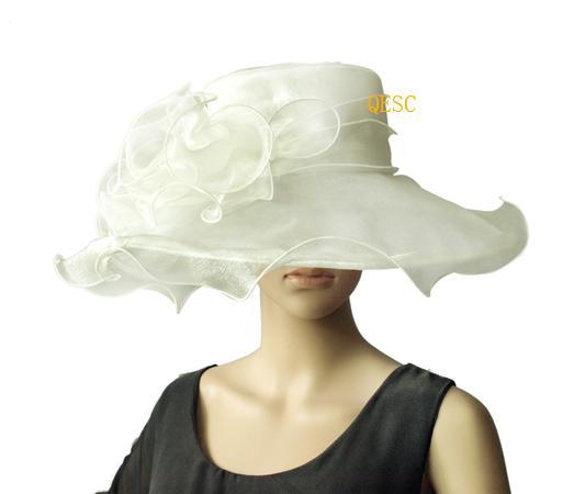 Creme / Marfim De Cristal Organza Hat com Grande Guarnição De Organza para wedding.brim largura 13.5 cm. ENVIO GRATUITO