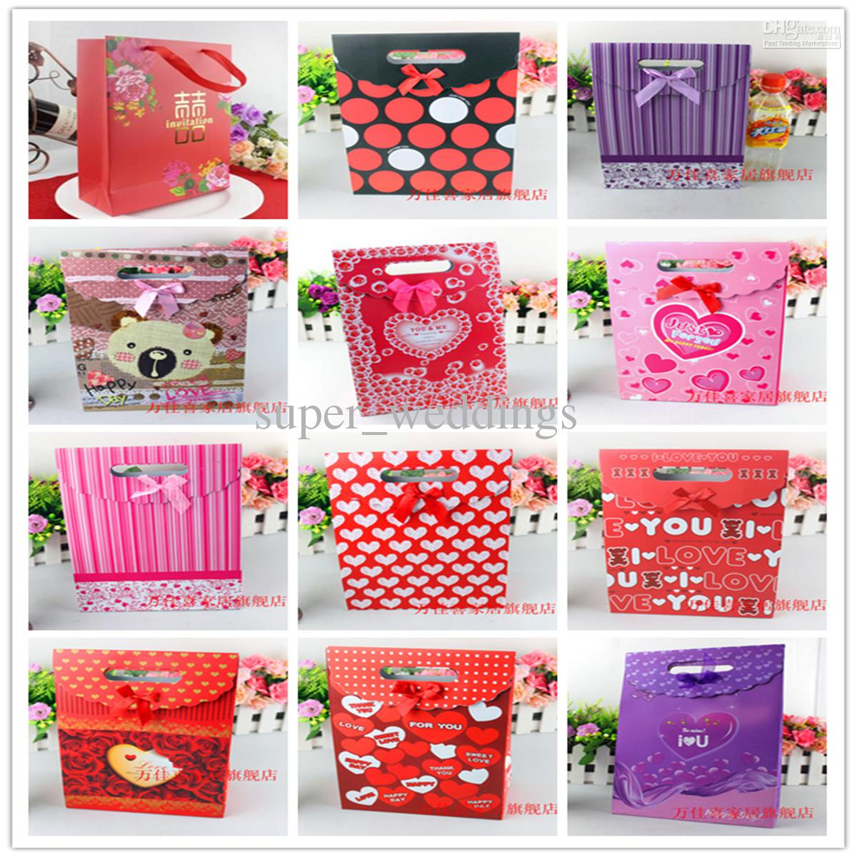 2013 New Marriage Wedding Gift Paper Gift Big Candy Bag 19*9cm Red ...