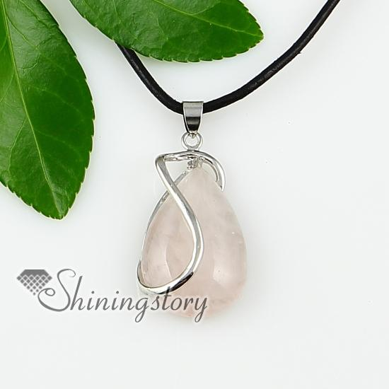 water drop rose quartz opal amethyst jade turquoise tigereye semi precious stone necklaces pendants Spsp1145GY0 handmade gemstone jewelry