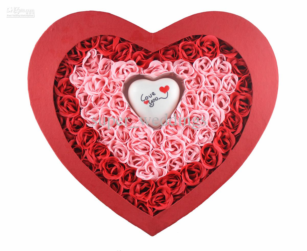2017 Valentine's Day Lover's Gift Soap Heart Shaped Gift Box Of ...