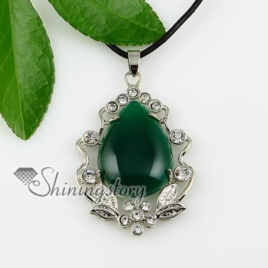 teardrop agate stone jewelry turquoise stone pendant black stone necklace semi precious stone neckla Spsp1188GY0 Cheap fashion jewelry