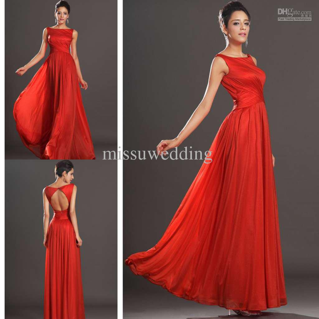 Top designer bateau sheath chiffon backless fashion red - Designer red carpet dresses ...