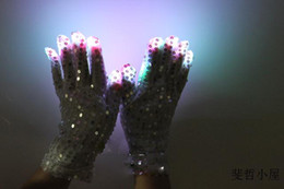 Wholesale Lead Flashing Suppliers - 2015 Christmas party suppliers shiny bling 7 Modes color changing flashing led glove for party supplies