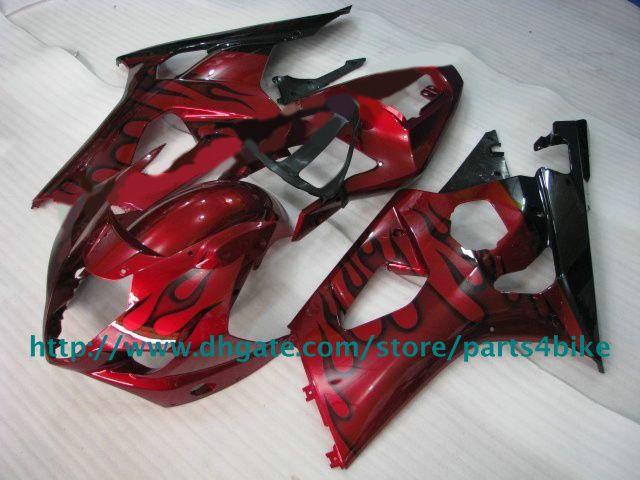 Fiamme nere in carene rosse SUZUKI GSXR1000 03 04 GSXR 1000 2003 2004 carenatura K3 RX2q
