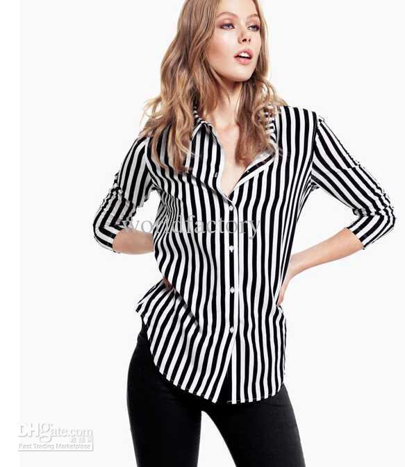 2017 2013 Black And White Striped Shiny Chiffon Women Shirts Tops ...