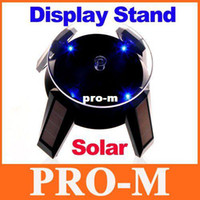 Wholesale Power Bracelets Crystal - Solar Powered Jewelry Phone Watch Rotating Display Stand Turn Table with LED Light Dropshipping