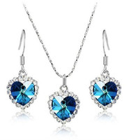 10sets Crystal Heart Ocean Titanic Necklace Pandant Earrings Set mezclado 7 colores