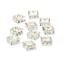 Wholesale Diamante Clear Rhinestone - Clear Rhinestone Crystal Diamante Silver Plated Square Spacer Beads 6mm,8mm,10mm 240 pcs lot