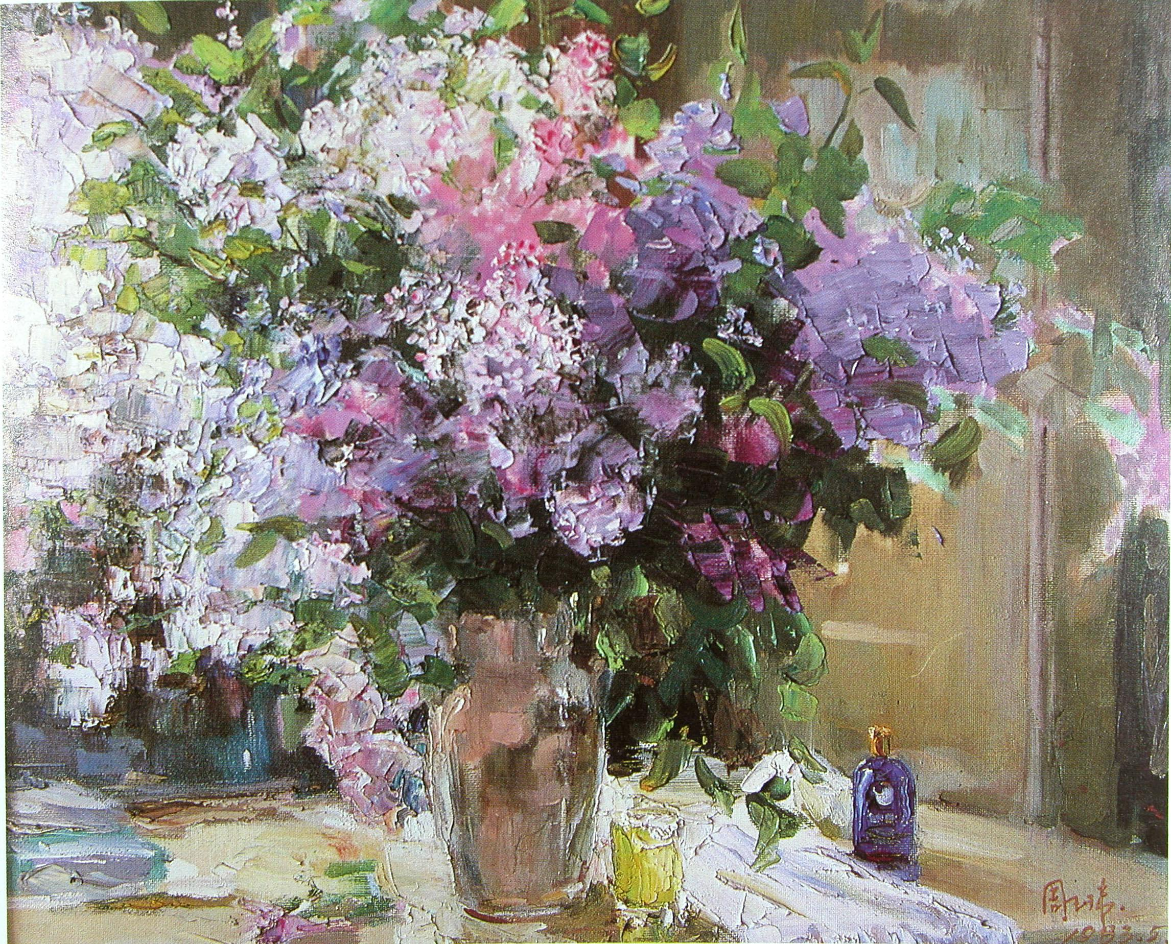 Purple and white flowers oil painting handmade oil for Flower paintings on canvas