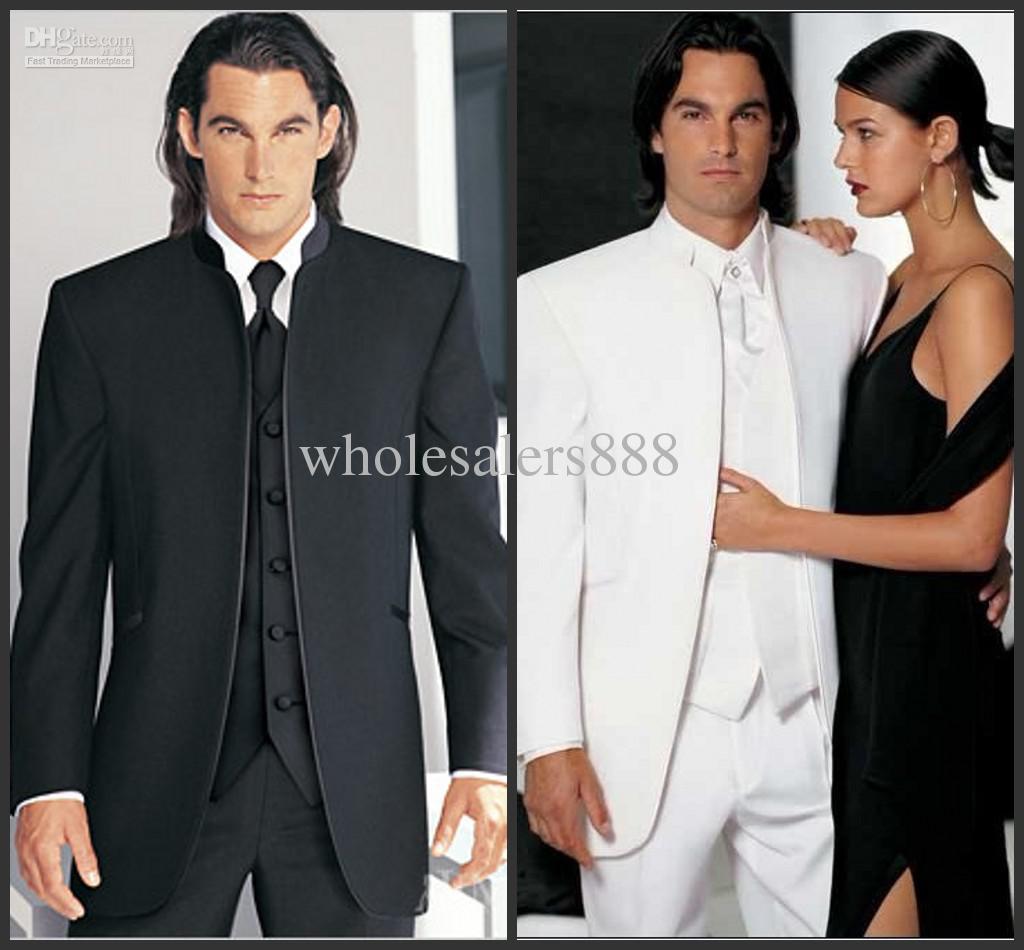 Custom Made GroomsMen Zwart / Wit Bruidegom Tuxedos Mandarijn Revers Beste Mannen Bruidegom Bruiloft / Prom / Diner Suits Jas + Broek + Tie + Vest H98