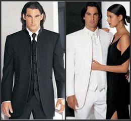 Wholesale Men Prom Suits - Custom Made Groomsmen Black white Groom Tuxedos Mandarin Lapel Best Men Bridegroom Wedding Prom Dinner Suits (Jacket+Pants+Tie+Vest) H98