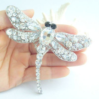 "Wholesale Clear Rhinestone Crystal Dragonfly Brooch - 3.74""Gorgeous Dragonfly Brooch Pin w Clear Rhinestone Crystals EE05684C1"