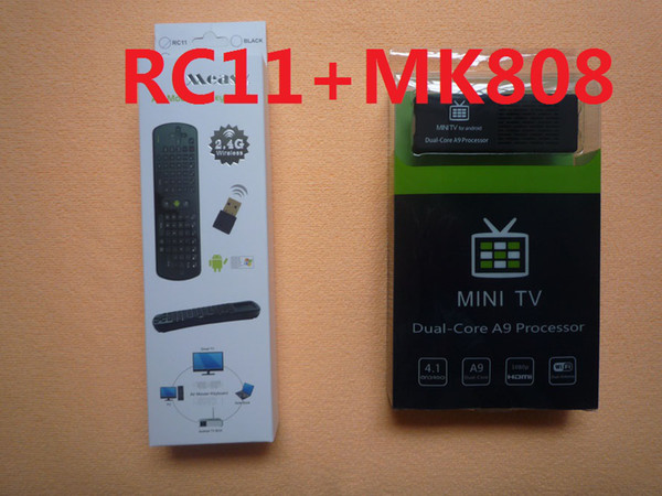 MK808 Caixa de TV Google Mini PC RK3066 Android 4.1 Dual Core Com Air Mouse Teclado RC11 Pacote Combinado