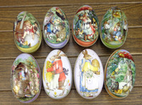 Wholesale Tin Candies - Eggs tin candy storage box 8 easter decoration cabochons (all pattens available now)