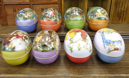 Wholesale Egg Easter Box - Easter decoration cabochons Fashion easter eggs tin candy storage box 8 (all pattens available now)