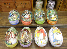 Wholesale Easter Cabochons - Easter decoration cabochons Fashion easter eggs tin candy storage box 8 all pattens available