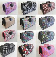 Wholesale dog crates carriers resale online - 2017 pet care fashion color S L folding size pet dog comfortable suitcase crates carriers totes package
