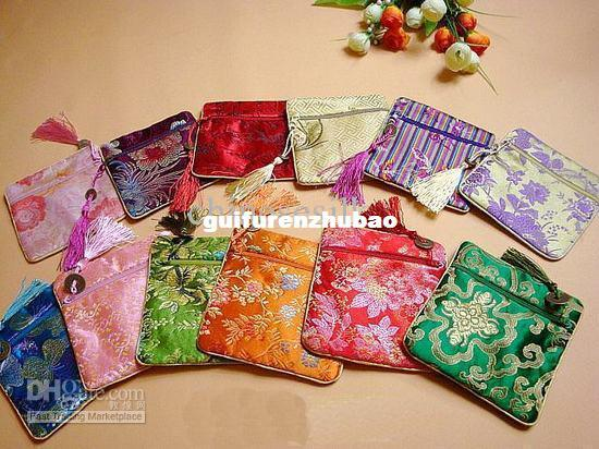 Cheap Jewelry Storage Bag Silk Small Zippered Tassel Gift Packaging Pouches 50pcs/lot mix Free