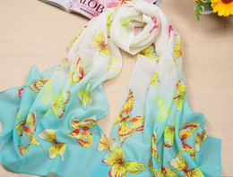 Chiffon butterfly sCarf shawl online shopping - HJ008 New Pore women Casual printed scarf Fly Fly Butterfly Scarf Nice Decoration Beach Shoulder neck shawl For Women Nice pc