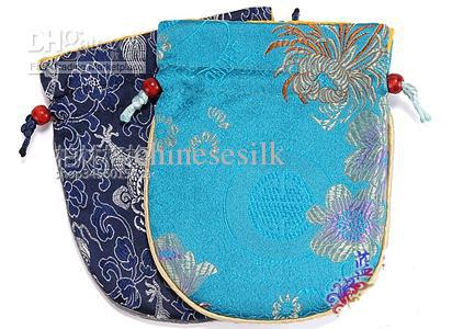Chinese Silk Drawstring Bags Jewelry The sponge sandwich upscale Storage Pouches 50pcs/lot Free