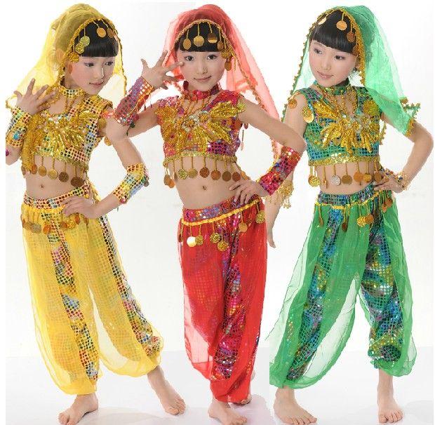 3e4c9f77d Children Indian dance costumes, girls dance clothes, folk dance, Tianzhu  girl belly dance performance clothing,Applicable festival : Children`s Day  ...