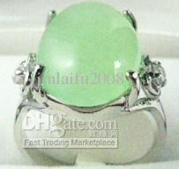 Fijngroene roze paarse rode blauwe jade bead 18kgp ring (# 6,77,9,10)