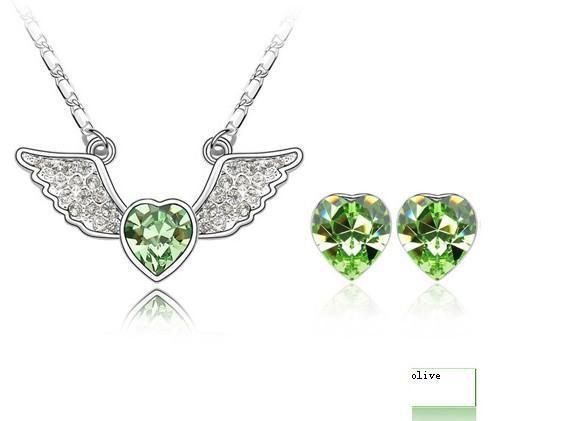 2013 nuovo trasporto libero fascino angelo cuore di cristallo insieme dei monili fatto in cristallo austriaco la signora