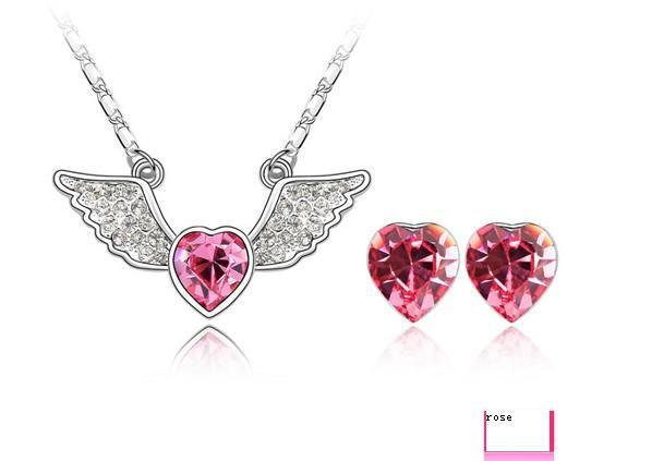 2013 New Charm Angel Heart Crystal Jewelry Set Made In Austrian Crystal For Lady