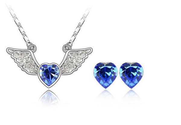 2013 New Free Shipping Charm Angel Heart Crystal Jewelry Set Made In Austrian Crystal For Lady