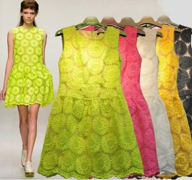 2018 2013 new women sunflower lace dresses elegant mini flower girl see larger image mightylinksfo