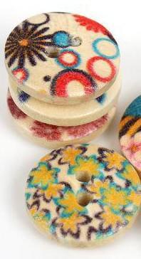 Botões de costura de madeira do buraco da flor misturada Scrapbooking 15mm