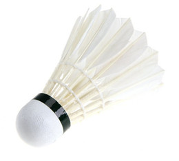 Wholesale Sport Badminton Feather Shuttlecocks - NEW Ball Game Sport Training White Goose Feather Shuttlecocks Birdies Badminton 70 speed