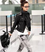 Wholesale Womens Biker Short Leather Jacket - New fashion Womens Short Outerwear Biker Jacket Coat PU Leather