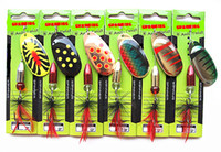 Wholesale Spinner Bait Hooks - 20-22g Fishing Tackle Spinner Bait Fishing Lure Metal Bait Sea Fishing Bait Leader Hook Tied Feathers Pendant of bell-shaped by Brass