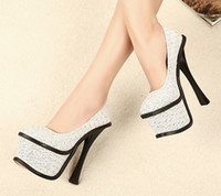 Wholesale Toe Flatform - Fashion Dress Shoes Sequin Fabric Crystals High Heel Flatform White Black 1prs Lot 0402H7