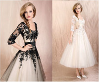 Wholesale Short Long Tulle Gowns - Black 3 4 Long Sleeves Lace Tea-Length Ball Gown Elbow Tulle Short Wedding Dresses Cocktail Dress
